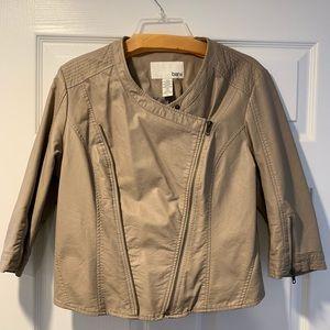 Bar III Faux leather mini jacket